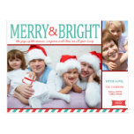Teal Blue and Red Merry and Bright Photo Post Card