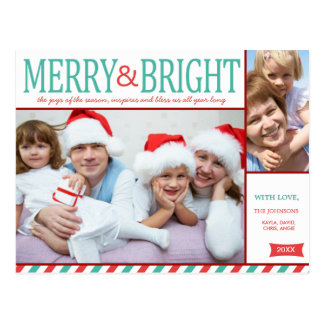 Teal Blue and Red Merry and Bright Photo Postcard
