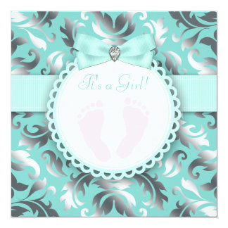 Teal Blue and Silver Footprint Baby Girl Shower Announcement