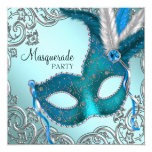 Teal Blue and Silver Mask Masquerade Party Invitation