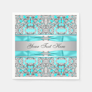Teal Blue and Silver Paper Napkin