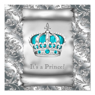 Teal Blue and Silver Prince Baby Shower Card