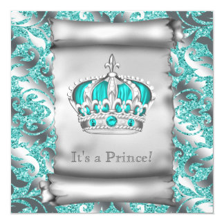 Teal Blue and Silver Prince Boy Baby Shower Card
