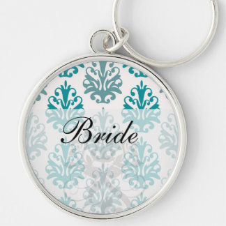 teal blue and slate blue damask on white key chains