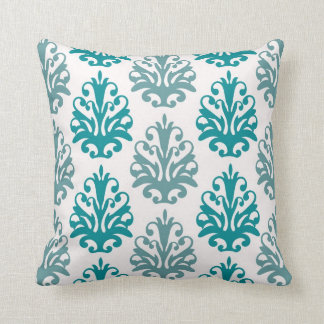 teal blue and slate blue damask on white throw pillow