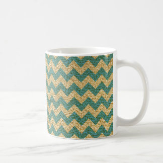 Teal Blue and Tan Canvas Chevron Pattern Coffee Mug