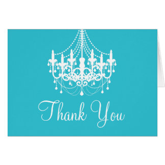 Teal Blue and White Chandelier Thank You Note Stationery Note Card