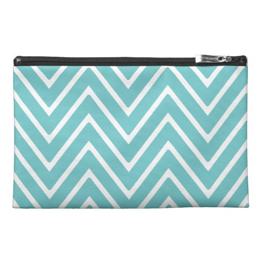Teal Blue and White Chevron Pattern 2 Travel Accessories Bag