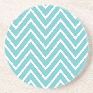 Teal Blue and White Chevron Pattern 2 Drink Coaster