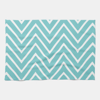 Teal Blue and White Chevron Pattern 2 Kitchen Towel