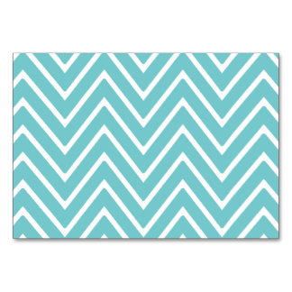 Teal Blue and White Chevron Pattern 2 Table Card