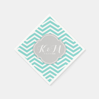 Teal Blue and White Chevron with Monogram Disposable Napkins