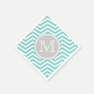 Teal Blue and White Chevron with Monogram Paper Napkin