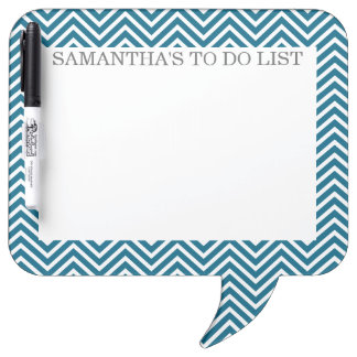 Teal Blue and White Chevrons with Custom Name Dry Erase Board