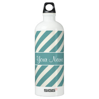 Teal Blue and White Diagonal Stripes Aluminum Water Bottle