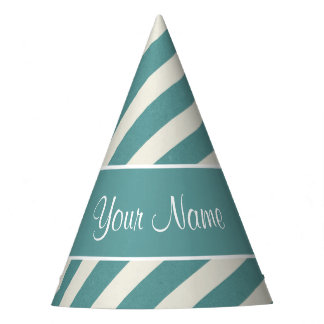 Teal Blue and White Diagonal Stripes Party Hat