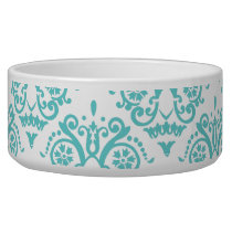 Teal Blue and White Elegant Damask Bowl