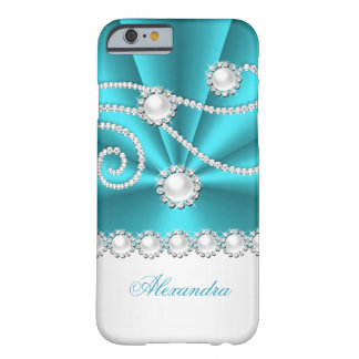 Teal Blue and White Faux Diamond Jewel iPhone 6 Case