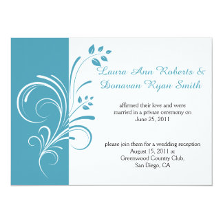 Teal Blue and White Floral Swirls Post Wedding Card