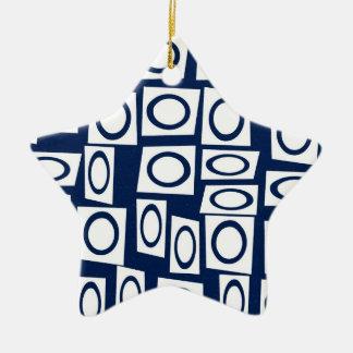 Teal Blue and White Fun Circle Square Pattern Ceramic Ornament