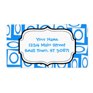 Teal Blue and White Fun Circle Square Pattern Label