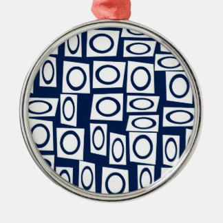Teal Blue and White Fun Circle Square Pattern Metal Ornament