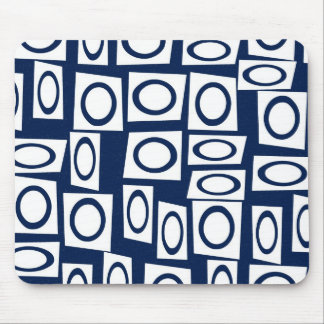 Teal Blue and White Fun Circle Square Pattern Mouse Pad
