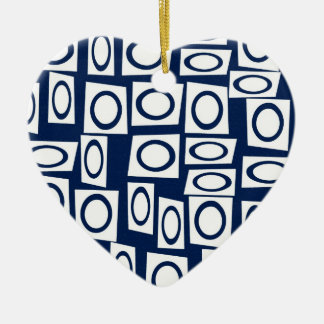 Teal Blue and White Fun Circle Square Pattern Christmas Ornaments