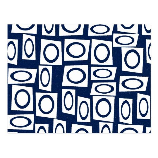 Teal Blue and White Fun Circle Square Pattern Postcard