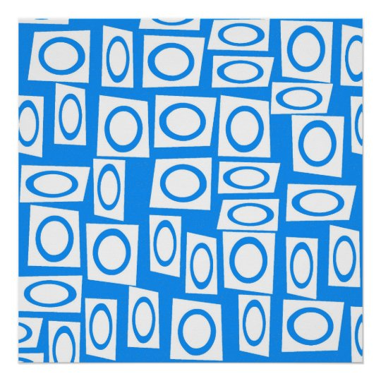 Teal Blue and White Fun Circle Square Pattern Poster