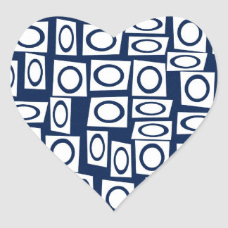 Teal Blue and White Fun Circle Square Pattern Heart Stickers