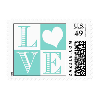 Teal Blue and White LOVE Wedding Stamps