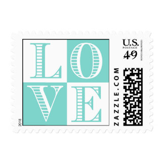 Teal Blue and White LOVE Wedding Postage