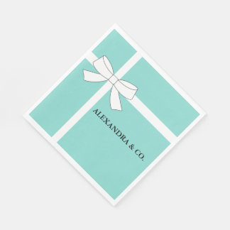 Teal Blue And White Personalized Party Napkins