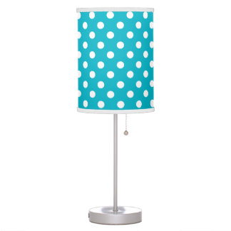 Teal Blue and White Polka Dot Table Lamps