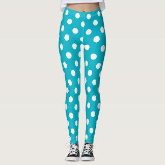Teal Blue and White Polka Dot Leggings