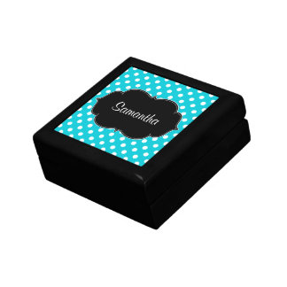 Teal Blue and White Polka Dot Personalized Jewelry Box