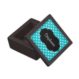 Teal Blue and White Polka Dot Personalized Premium Trinket Box