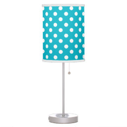 Teal Blue and White Polka Dot Table Lamp