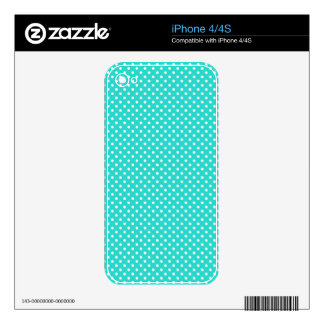Teal Blue and White Polka Dots Pattern Decal For The iPhone 4S