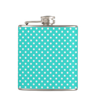 Teal Blue and White Polka Dots Pattern Hip Flask