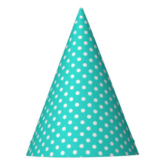Teal Blue and White Polka Dots Pattern Party Hat