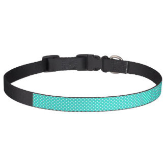 Teal Blue and White Polka Dots Pattern Pet Collar