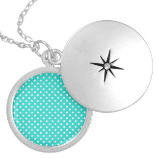 Teal Blue and White Polka Dots Pattern Round Locket Necklace