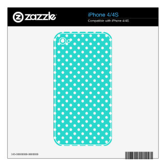 Teal Blue and White Polka Dots Pattern Skins For iPhone 4