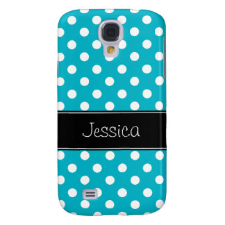 Teal Blue and White Polka Dots Personalized Samsung Galaxy S4 Cover