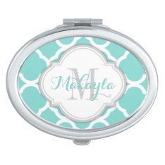 Teal Blue And White Quatrefoil With Monogram Compact Mirror at Zazzle