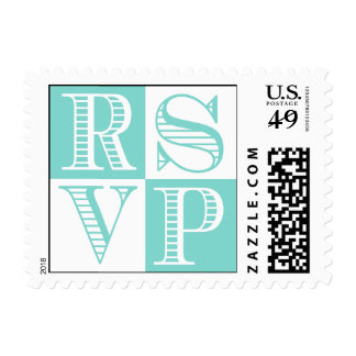 Teal Blue and White RSVP Wedding Postage Stamps