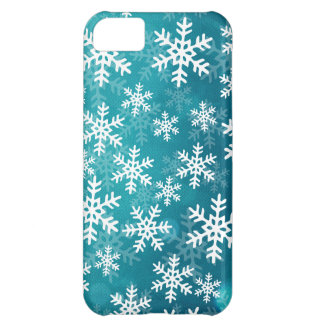 Teal Blue and White Snowflakes iPhone 5C Cover