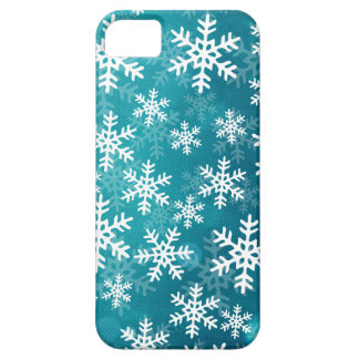 Teal Blue and White Snowflakes iPhone SE/5/5s Case